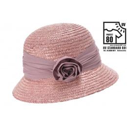 Chapeau Cloche Calvi Paille Vieux Rose- Seeberger