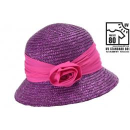 Seeberger Purple Straw Calvi Bell Hat - Seeberger