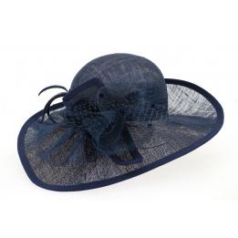 Chapeau de cérémonie Felicie Bleu Marine Paille- Traclet