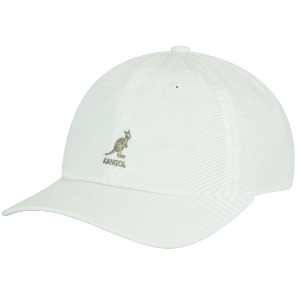 Casquette Washed Baseball Coton Blanche- Kangol