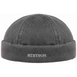 Bonnet Docker Hiver Coton Vieilli Noir- Stetson