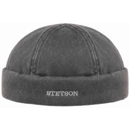 Bonnet Docker Coton Vieilli Noir- Stetson