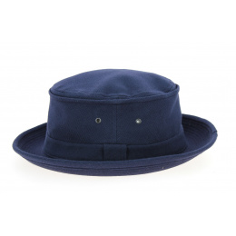 Porkpie Beach Hat Navy Cotton Spade Hat - Crambes