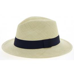 Chapeau Panama Ambato Paille Naturelle & Bleue- Traclet