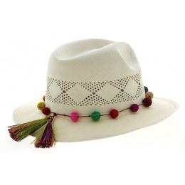 Chapeau Panama Sucre Fantaisie Blanc- Traclet