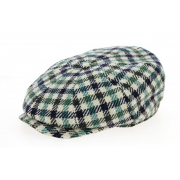 Hatteras Check Cap Green Wool & Blue - Stetson