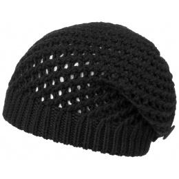Barascon Black Wool Beret Knit Black - Traclet