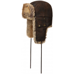 Chapka Bomber Brown Leather Faux Fur - Stetson