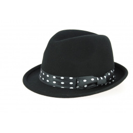 Trilby Scarface Hat Wool Felt Dots Black- Traclet