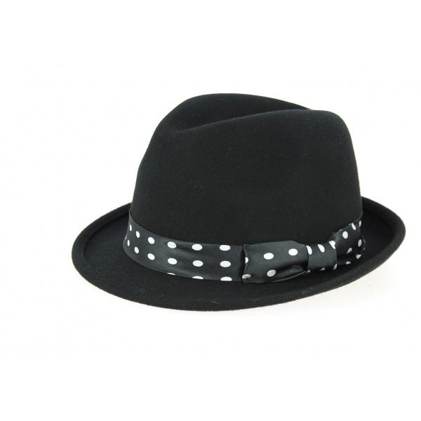 Chapeau Trilby Scarface Feutre Laine Pois Noir- Traclet