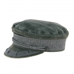 Genuine grey leather navy cap