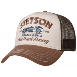 Casquette Baseball Trucker Dirt Track Racing Beige& Marron Coton- Stetson