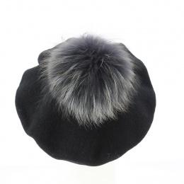 Black beret with fur pompom