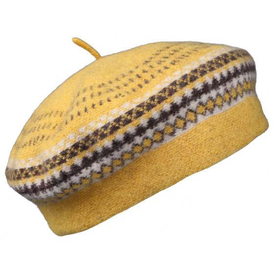 Women's Beret Malibu Yellow Wool - Traclet