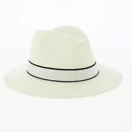 Fedora laine blanc -bandeau blanc