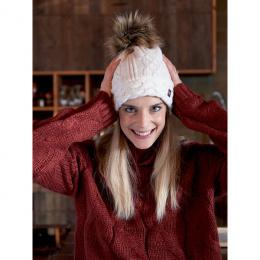 Bonnet à pompon-Fourrure Graziella Blanc - Pipolaki