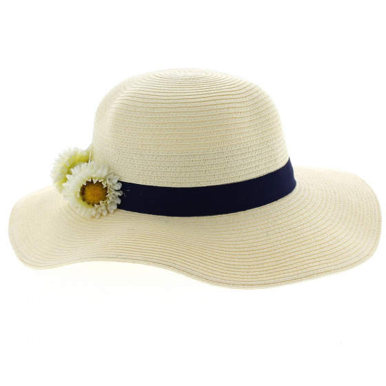 copy of Flowered floppy hat: French creation. Unique model from the Ateliers de la Chapellerie TRACLET