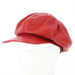 Casquette Gavroche cuir Montagny Rouge