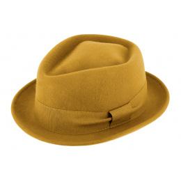 Chapeau PorkPie Zingaro Feutre Laine jaune