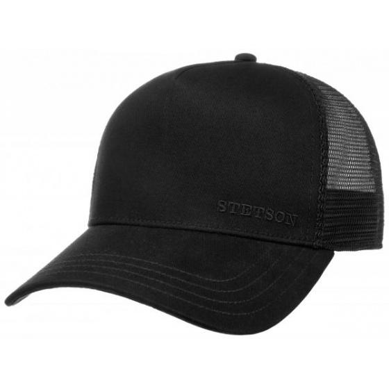 Casquette Baseball Trucker Coton Noire- Stetson