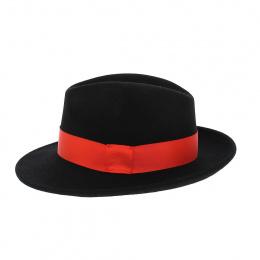 Chapeau Fedora Vanador Feutre Laine Noir ruban rouge Imperméable - Traclet