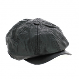 Casquette Gavroche Cuir Noire - Traclet