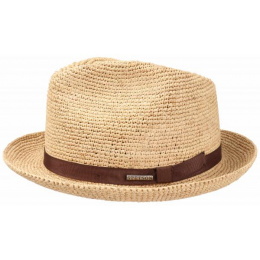 Chapeau Porkpie player  Mitchell Raffia Stetson - Marron