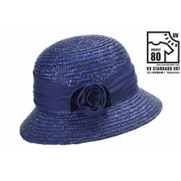 Chapeau cloche paille bleu Marine