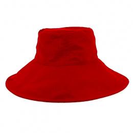 Capeline Grands Bords Coton Rouge - Fléchet
