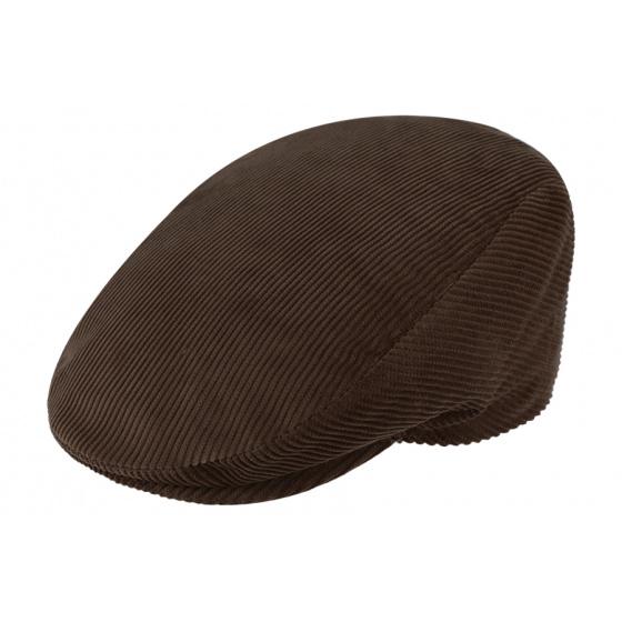 Casquette plate velours marron