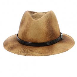 Chapeau Fedora Kalo Imitation Cuir Marron - Traclet
