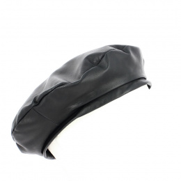 Black leather beret - Traclet