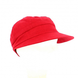Enuko Large Visor Cap Ruby Linen - Traclet