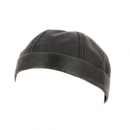 copy of Bonnet Docker Nappa Noir Cuir - Traclet