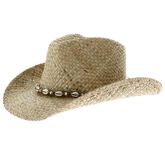 Chapeau Cowboy Shells Paille Naturelle - Traclet
