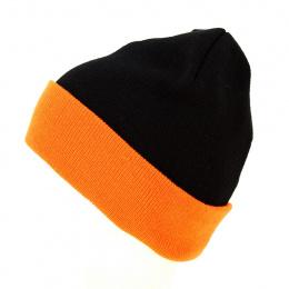 Bonnet Long Acrylique Noir & Orange - Result