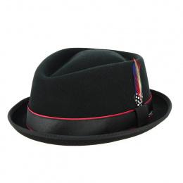Porkpie Diamond Forza Black Wool & Cashmere Hat - Stetson