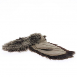 Leather and fur mitten